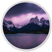 Twilight Over The Lake Round Beach Towel by Andrew Matwijec