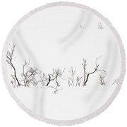 Twigs In Snow Round Beach Towel