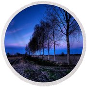 Twilight And Trees Round Beach Towel