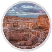 Twilight At Chocolate Falls Round Beach Towel
