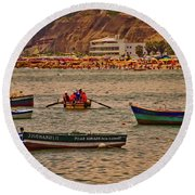 Round Beach Towel featuring the photograph Twilight At The Beach, Miraflores, Peru by Mary Machare