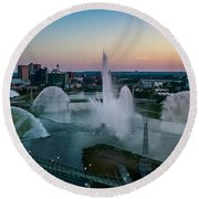 Twilight At The Fountains Round Beach Towel