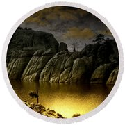 Twilight At The Lake Round Beach Towel
