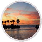 Twilight At The Marina Round Beach Towel