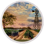 Twilight At The Vineyard Round Beach Towel