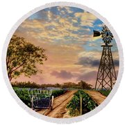 Twilight At The Vineyard Round Beach Towel by Ron Chambers
