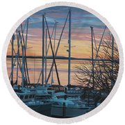 Twilight Boats Round Beach Towel