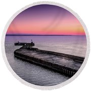 Twilight, Burghead Harbour Round Beach Towel