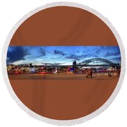 Round Beach Towel featuring the photograph Twilight By The Bridge By Kaye Menner by Kaye Menner