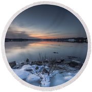 Round Beach Towel featuring the photograph Twilight by Edward Kreis