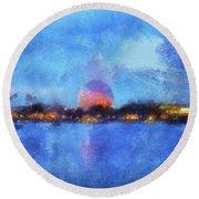Twilight Epcot World Showcase Lagoon Wdw 02 Photo Art Mp Round Beach Towel