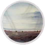 Twilight Settles On The Moors Round Beach Towel