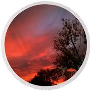 Twilight Fire Round Beach Towel