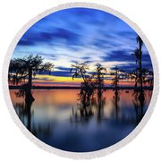 Twilight On Lake Martin Swamp Round Beach Towel