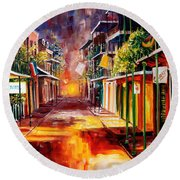 Twilight In New Orleans Round Beach Towel
