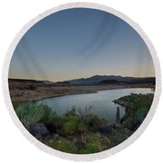 Round Beach Towel featuring the photograph Twilight In The Desert by Margaret Pitcher