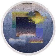 Twilight Interrupted By Ocean Breeze Round Beach Towel