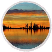 Twilight Lake Reflections In Colorado Round Beach Towel