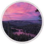 Twilight Mammoth Lakes  Round Beach Towel