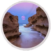 Round Beach Towel featuring the photograph Twilight Moon Rising Over Hutchinson Island Beach Rocks by Justin Kelefas