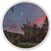 Twilight Moonrise Round Beach Towel