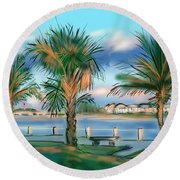 Twilight On Saw Fish Bay Round Beach Towel
