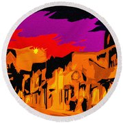 Twilight On The Plaza Santa Fe Round Beach Towel
