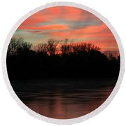 Round Beach Towel featuring the photograph Twilight On The River by Chris Berry