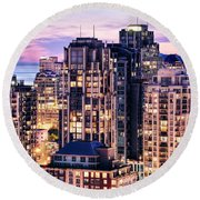 Twilight Over English Bay Vancouver Round Beach Towel by Amyn Nasser