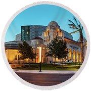 Twilight Panorama Of Tobin Center For The Performing Arts - Downtown San Antonio Texas Round Beach Towel
