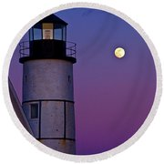 Twilight At Sandy Neck Lighthouse Round Beach Towel