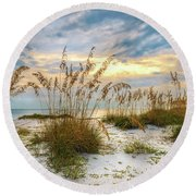 Twilight Sea Oats Round Beach Towel