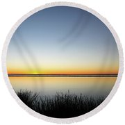 Twilight Stillness Down By The Beach Lagoon Round Beach Towel