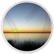 Twilight Stillness Down By The Beach Lagoon Round Beach Towel