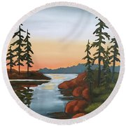 Twilight Sunset Round Beach Towel by Inese Poga