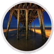 Twilight Under The Imperial Beach Pier San Diego California Round Beach Towel