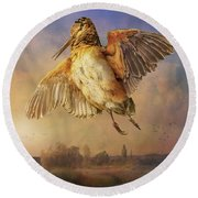 Twilight Woodcock Rising Round Beach Towel by R christopher Vest