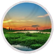 Round Beach Towel featuring the photograph Twilights Arrival by Marvin Spates