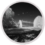 Round Beach Towel featuring the photograph Twin Barns by Bob Cournoyer