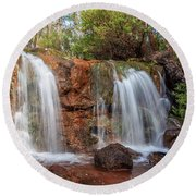 Twin Falls At Ironstone Gully Round Beach Towel