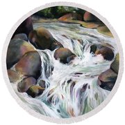 Round Beach Towel featuring the painting Twin Falls by Rae Andrews