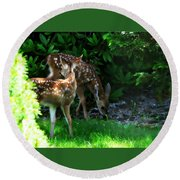 Twin Fawns Round Beach Towel