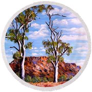 Twin Ghost Gums Of Central Australia Round Beach Towel