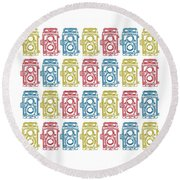 Twin Lens Camera Pattern Round Beach Towel