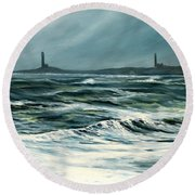 Twin Lights Rockport Ma Round Beach Towel by Eileen Patten Oliver
