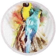 Twin Parrots Round Beach Towel