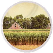 Round Beach Towel featuring the photograph Twin Peaks by Julie Hamilton