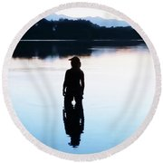 Round Beach Towel featuring the photograph Twin Peaks Silhouette by Joseph Hendrix