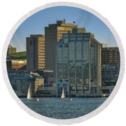Twin Purdy Towers Of Halifax Round Beach Towel by Ken Morris