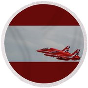 Twin Red Arrows Taking Off - Teesside Airshow 2016 Round Beach Towel
